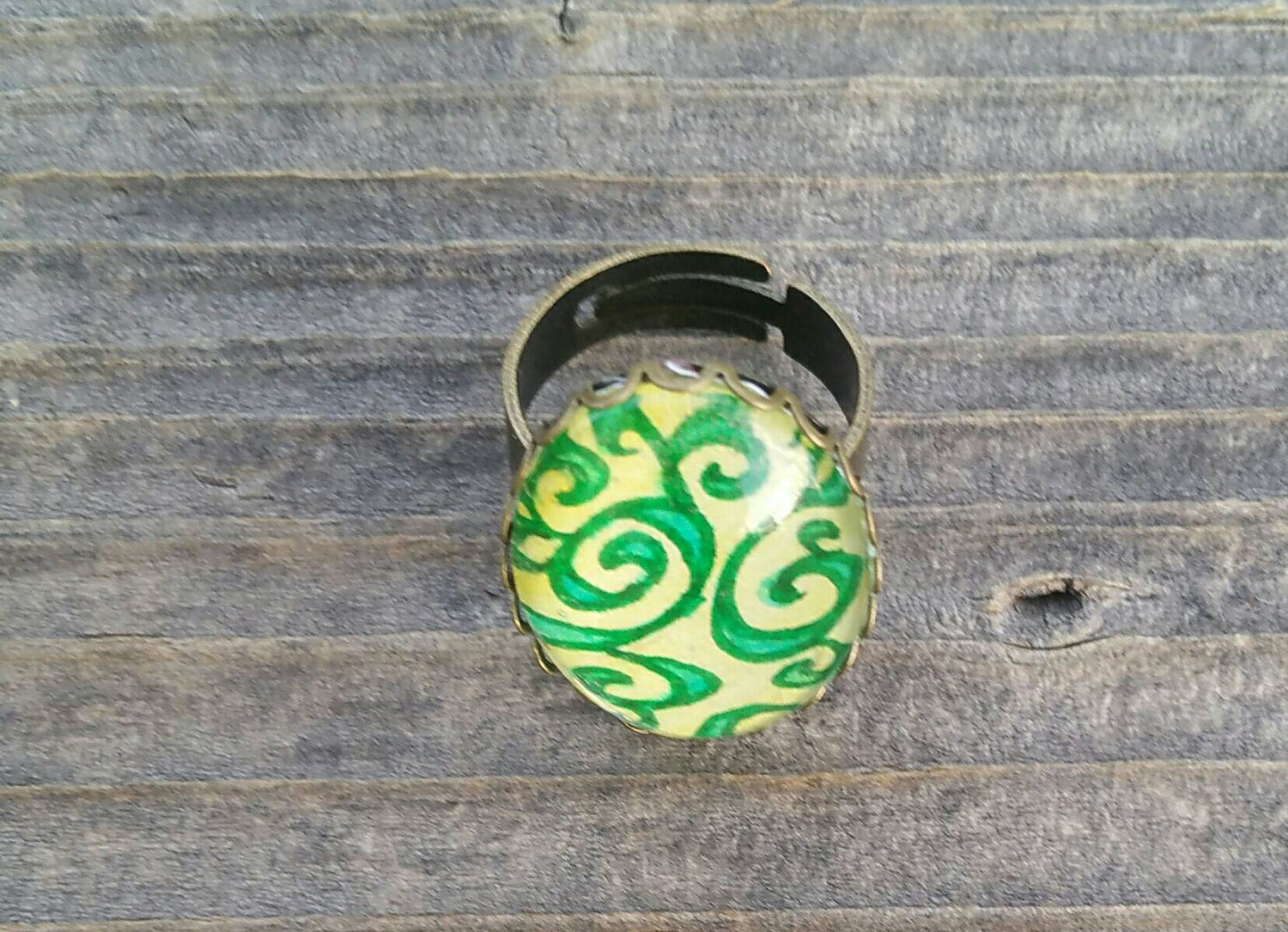Easter egg ring. Spring or Easter ring, Hand-Painted Watercolor and ink. Yellow and green, Easter gift