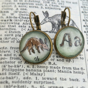 Aardvark Earrings. Hand-Painted miniature watercolor illustrations under glass, A is for Aardvark. 'A' name, Aardvark lover or Teacher Gift!