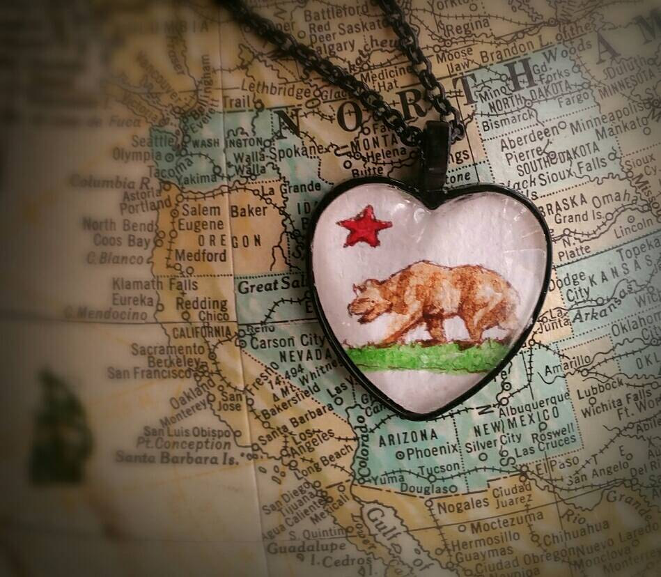 California flag necklace. California state pendant necklace,  California souvenir gift, hand painted watercolor wearable mini painting