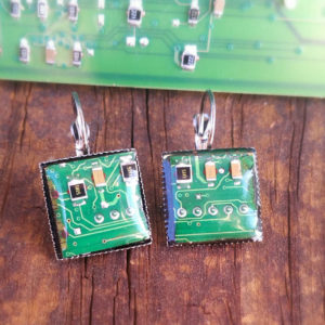 Circuit board earrings. Motherboard earrings cut from actual upcycled computer parts. Repurposed geek girl gift. Unique, quirky earrings