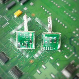 Circuit board earrings. Motherboard earrings cut from actual upcycled computer parts. Silver plated, geek girl gift. Unique, quirky earrings