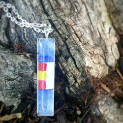 Colorado flag necklace. Colorado state flag stylized, hand painted in watercolor. Colorado souvenir, Colorado gift