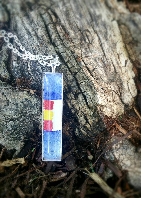 Colorado flag necklace. Colorado state flag stylized, hand painted in watercolor. Colorado souvenir, Colorado gift