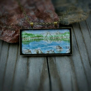 Colorado Mountain scene necklace.  Echo Lake mountain jewelry hand painted watercolor wearable art.  Miniature mountain landscape