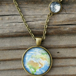 Earth and moon necklace, love you to the moon and back necklace, hand-painted watercolor miniature paintings. Wearable Art
