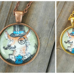 Fox with mustache and monocle necklace, hand painted watercolor mini fox illustration. Wearable art necklace