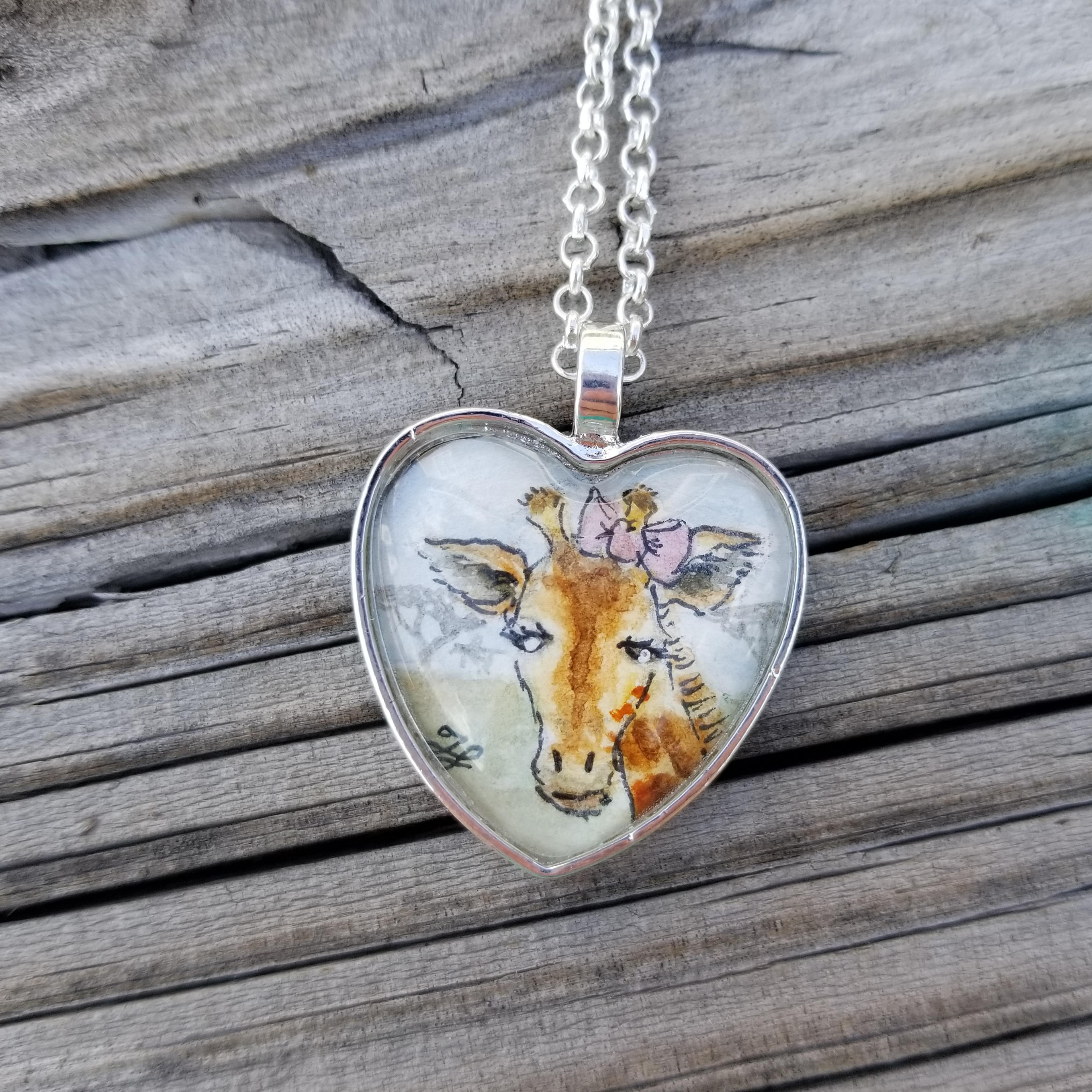 Giraffe Necklace, Hand-painted one-of-a-kind miniature giraffe illustration, watercolor and ink giraffe with pink bow in heart