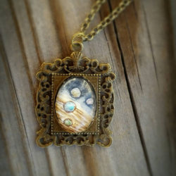 Jupiter and moons cameo pendant necklace.  Hand-Painted watercolor miniature painting of Jupiter and 4 moons, space, planet Jupiter necklace