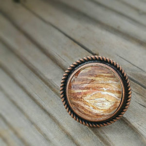 Jupiter ring. Hand-painted  watercolor jupiter ring, unique miniature painting in antiqued copper adjustable ring.