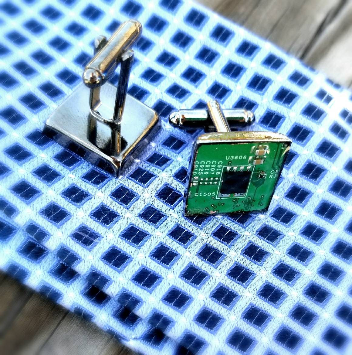 Motherboard cufflinks, Cuff links from an actual motherboard or circuit board in gunmetal, Father's day gift him, geek gift, blue and green