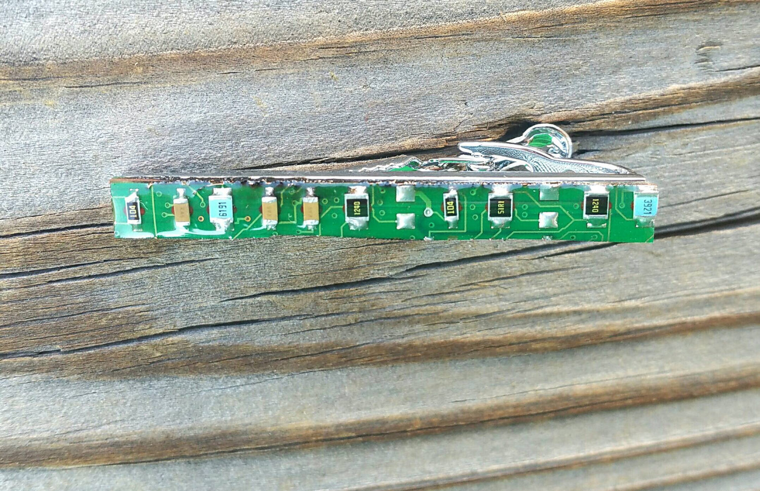 Motherboard tie bar. Circuit board tie bar clip, made from actual upcycled obsolete motherboard in gloss resin on silver plated clip bar