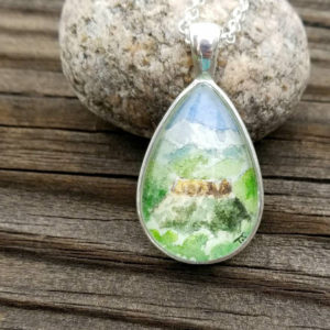 Mountain scene necklace, hand painted Pikes Peak and Castle Rock necklace, Colorado necklace, watercolor wearable art