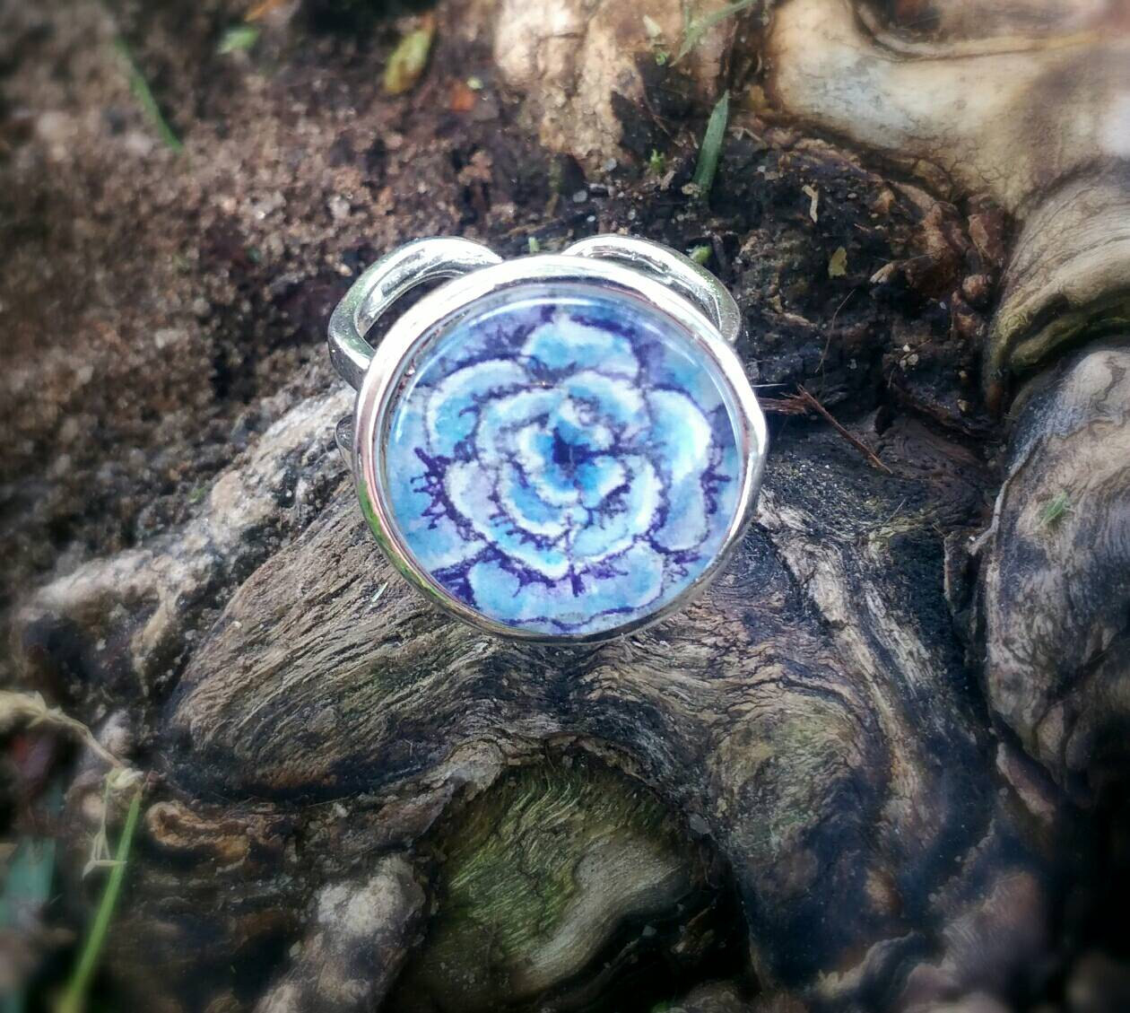 Purple and teal rose ring. Blue and purple flower hand painted in watercolor and ink, silver-plated adjustable band