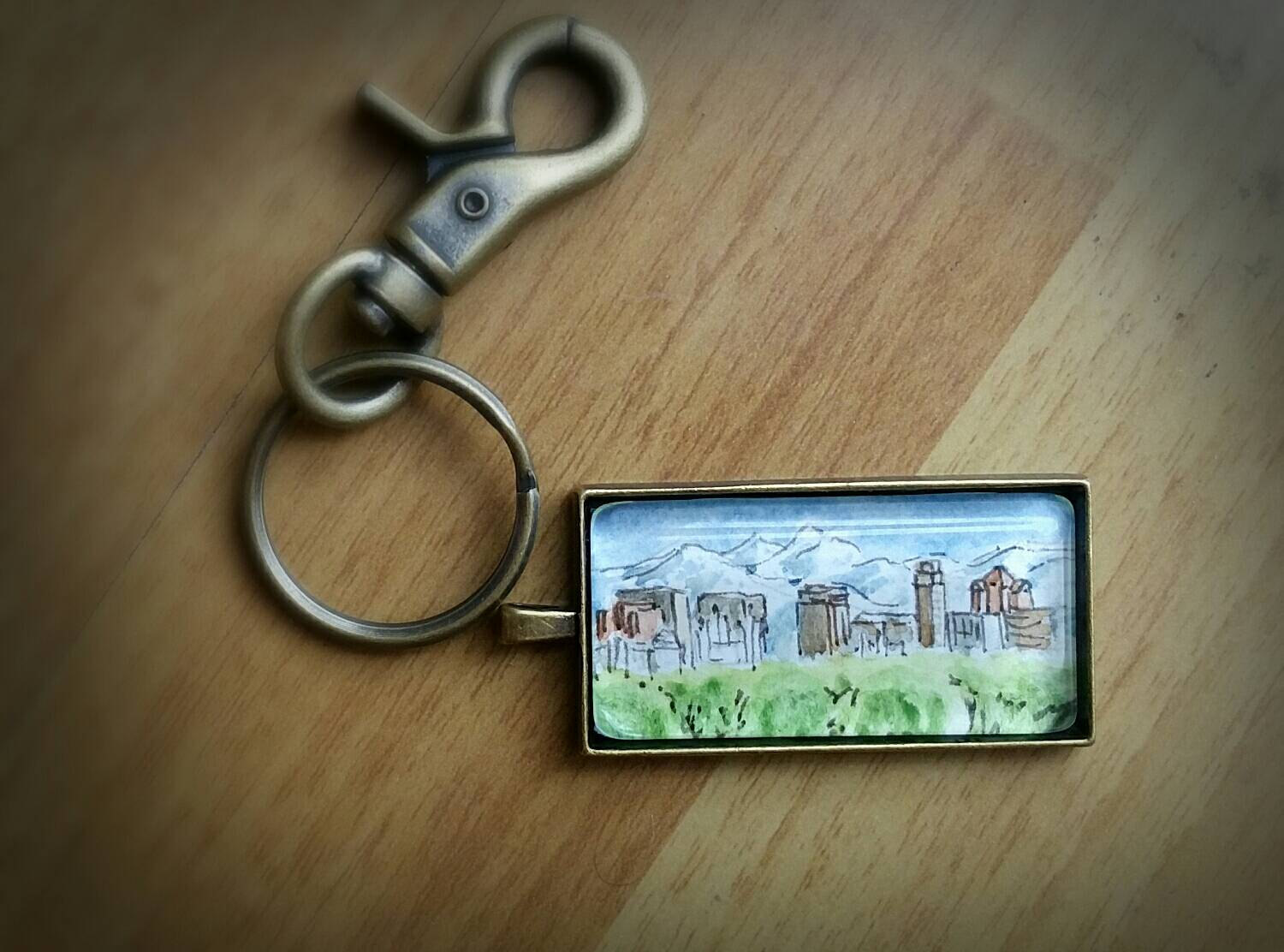 Salt Lake City Skyline, Utah Key Ring or Necklace, Temple and surrounding buildings