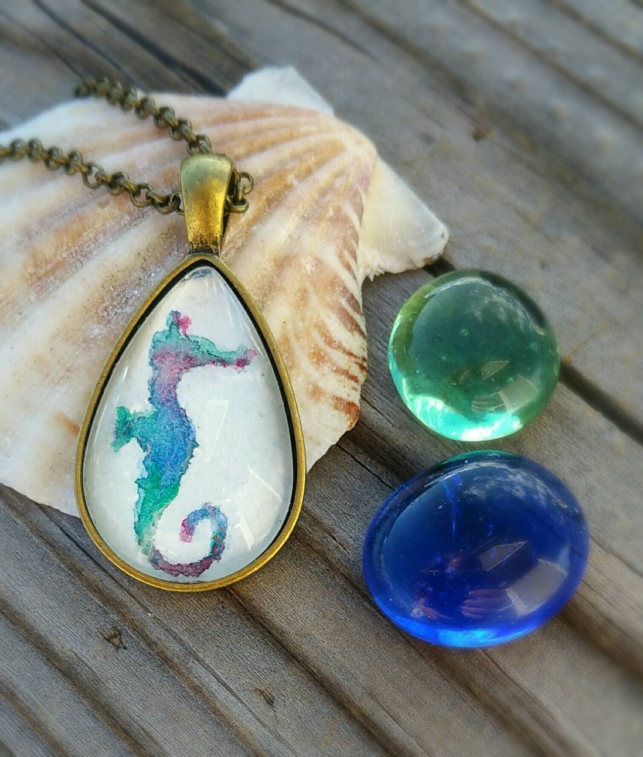 Seahorse necklace. Watercolor seahorse hand painted pendant. Seahorse watercolor mini painting. Blue, teal, green, purple, and coral