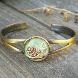 Snail bracelet, hand-painted in watercolor and ink. Cute snail adjustable bracelet