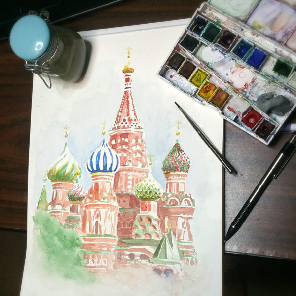 St. Basil's Cathedral Watercolor Painting, Red Square Moscow Russia, Russia Watercolor Original Art.