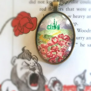 The Wonderful Wizard of Oz necklace Hand-Painted Wizard of Oz pendant watercolor. Follow the yellow brick road, Emerald Palace, poppies