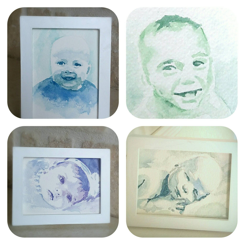 Watercolor Baby Portrait, Newborn Portrait in watercolor, minimalist watercolor portrait from your favorite photo.  free shipping!