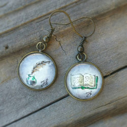 Writer earrings. Hand-painted inkwell and feather pen and book earrings, watercolor and ink. Gift for writer, author, teacher or poet