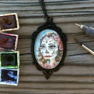 Day of the dead necklace. Día de los Muertos mujer woman hand-painted watercolor and ink, Halloween, miniature painting, double sided