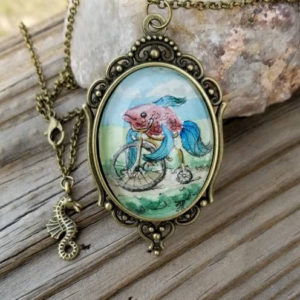 Fish on a bicycle necklace.  Hand-Painted watercolor miniature painting. ...like a fish without a bicycle vintage style cameo pendant