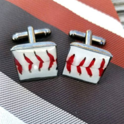 Baseball Cuff Links, real baseball upcycled cuff links, actual baseball pieces set into cuff links