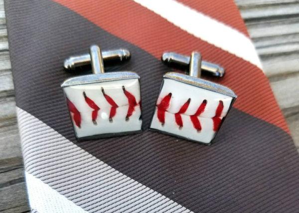 Baseball Cuff Links, real baseball upcycled cuff links, actual baseball pieces set into cuff links