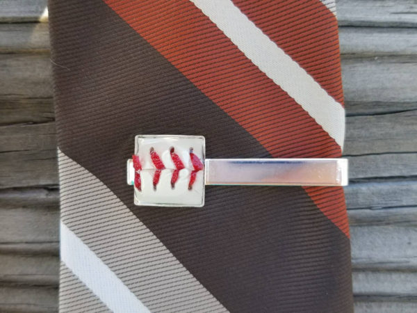 Baseball tie bar. Baseball tie clip. Father's Day gift tie bar made from actual baseball