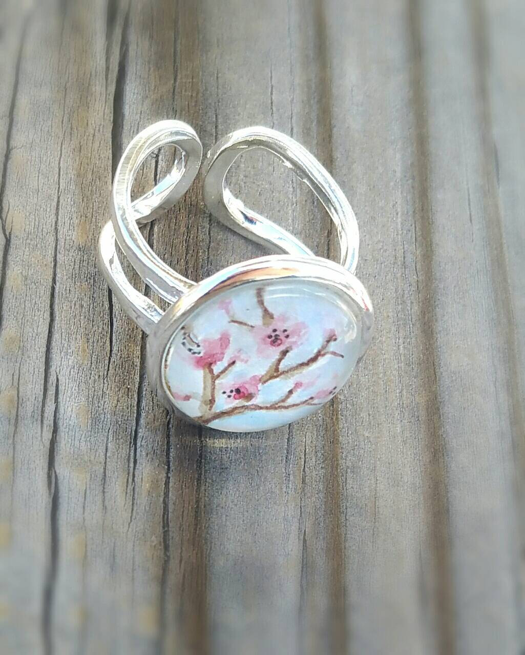 Cherry Blossoms ring, pink cherry blossoms, watercolor painted jewelry, Spring pink or coral and teal turquoise jewelry, silver plated