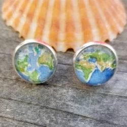 Earth earrings.  Globe earrings. Hand-painted watercolor miniature paintings of two views of the globe in silver-plated stud earrings