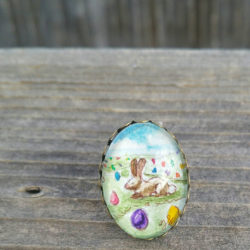 Easter bunny Easter egg ring. Spring / Easter ring, Hand-Painted Watercolor and ink. Cute Easter gift for girl