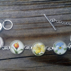 Flowers Bracelet. Hand painted floral bracelet, Spring flowers: Daffodil, Iris, Peony, Pansy, Tulip in watercolor and ink, silver-plated