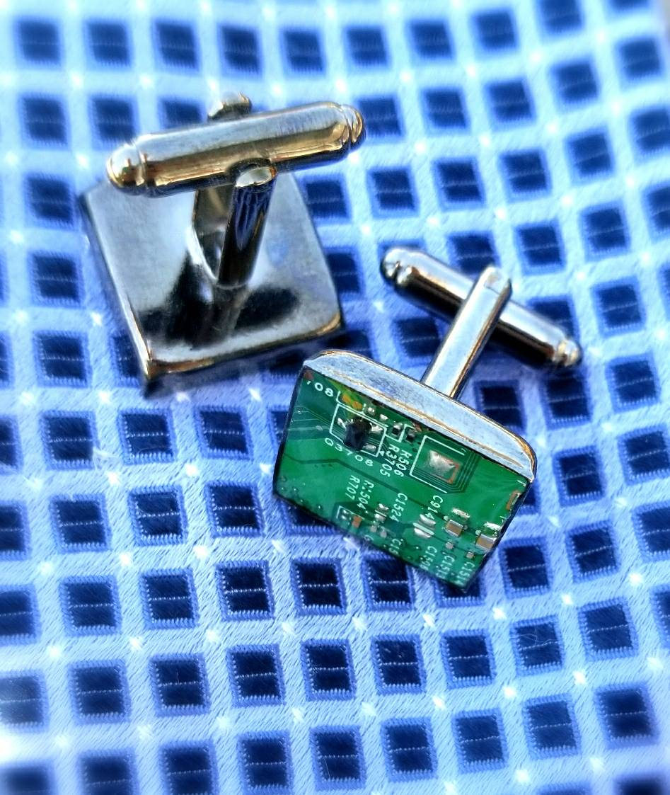 Motherboard cufflinks, Cuff links from an actual motherboard or circuit board in gunmetal, Father's day gift him, geek gift, upcycled, green