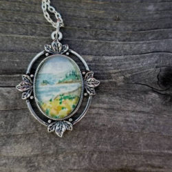 California Seascape necklace - Hand-painted watercolor Golden Poppy flowers along the Pacific Northwest coast, California souvenir or gift
