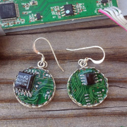 Circuit board earrings. Motherboard earrings in solid sterling silver. .925 silver upcycled computer parts double-sided earrings.