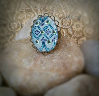 Easter egg ring. Faberge Egg Inspired Easter ring, Hand-Painted Watercolor with Swarovski Crystal embellishments. Easter gift teal andpurple