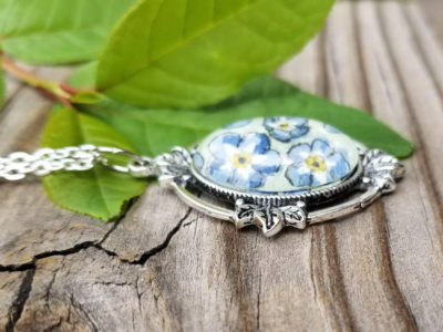 Forget-me-not flower necklace. Hand painted forget me nots in watercolor and ink, floral illustration. Alaska state flower, Alaska gift