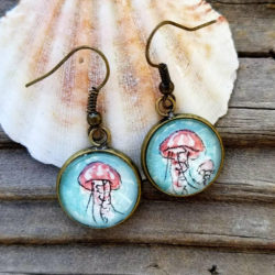 Jellyfish earrings hand-painted in watercolor. Pink jellyfish and teal or blue water, ooak ocean earrings.