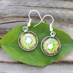 Kiwi Earrings. Kiwi fruit earrings, hand-painted in watercolor, silver-plated lime green earrings.  Wearable art greenery color