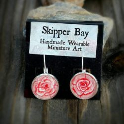 Red Rose Earrings, hand painted watercolor roses in silver-plated lever back earrings.