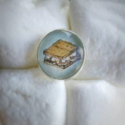 S'more Pin. Hand-Painted Watercolor S'mores pin, cute unique pin gift. Love Pins? Get S'more!